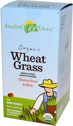 Organic Wheat Grass, Whole Food Drink Powder, 15 Individual Packets, 8 g Each by Amazing Grass, 補品,超級食品,小麥草 HK 香港