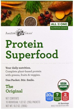 Protein Superfood, All In One Nutrition Shake, The Original, 10 Packets, 1.02 oz (29 g) Each by Amazing Grass, 補品,單份包,超級食品 HK 香港
