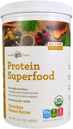 Protein Superfood, Chocolate Peanut Butter, 15.1 oz (430 g) by Amazing Grass, 補品,超級食品,蛋白質 HK 香港