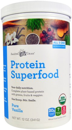 Protein Superfood, Pure Vanilla, 12 oz (341 g) by Amazing Grass, 補品,超級食品,蛋白質 HK 香港
