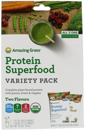 Protein Superfood Variety Pack, Two Flavors, Chocolate Peanut Butter & Pure Vanilla, 2 Packets by Amazing Grass, 補品,超級食品,蛋白質 HK 香港