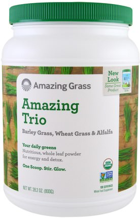 The Amazing Trio, Barley Grass & Wheat Grass & Alfalfa, 28.2 oz (800 g) by Amazing Grass, 補品,超級食品,驚人的草三重奏,大麥草 HK 香港