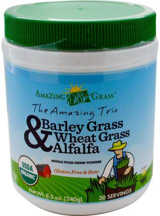 The Amazing Trio, Barley Grass & Wheat Grass & Alfalfa, 8.5 oz (240 g) by Amazing Grass, 補品,超級食品,驚人的草三重奏,大麥草 HK 香港