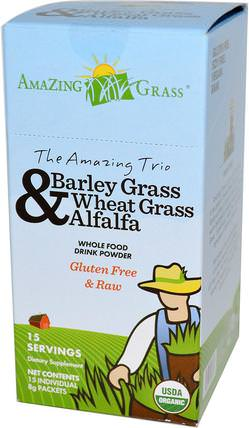 The Amazing Trio, Barley Grass, Wheat Grass & Alfalfa, Drink Powder, 15 Individual Packets, 8 g Each by Amazing Grass, 補品,超級食品,驚人的草三重奏,大麥草 HK 香港