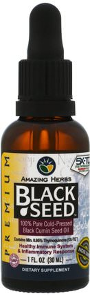 Black Seed, 100% Pure Cold-Pressed Black Cumin Seed Oil, 1 fl oz (30 ml) by Amazing Herbs, 草藥,黑種子 HK 香港