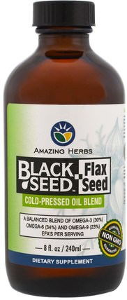 Black Seed, Flax Seed, Cold-Pressed Oil Blend, 8 fl. oz (240 ml) by Amazing Herbs, 草藥,黑種子,efa歐米茄3 6 9(epa dha),亞麻油液體 HK 香港