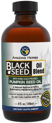 Black Seed Oil Blend with Pure Cold-Pressed Pumpkin Seed Oil, 8 fl oz (240 ml) by Amazing Herbs, 草藥,黑種子,efa歐米茄3 6 9(epa dha),南瓜籽油 HK 香港