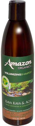 Volumizing Shampoo, Kava Kava & Acai with Lavender & Lemongrass, 12 fl oz (360 ml) by Amazon Organics, 洗澡,美容,頭髮,頭皮,洗髮水,護髮素 HK 香港