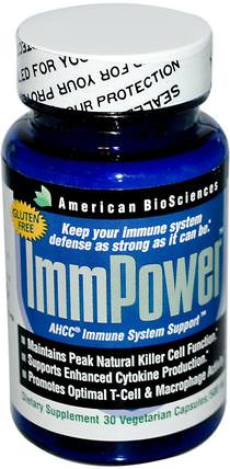 ImmPower, AHCC Immune System Support, 500 mg, 30 Veggie Caps by American Biosciences, 補充劑,藥用蘑菇,ahcc,蘑菇膠囊 HK 香港