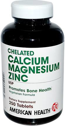 Chelated Calcium Magnesium Zinc, 250 Tablets by American Health, 補品,礦物質,鈣 HK 香港