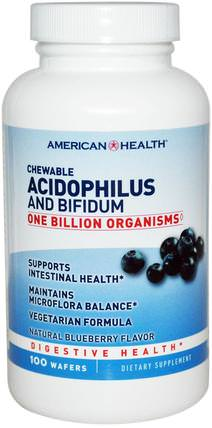 Chewable Acidophilus and Bifidum, Natural Blueberry Flavor, 100 Wafers by American Health, 補充劑,益生菌,穩定的益生菌 HK 香港