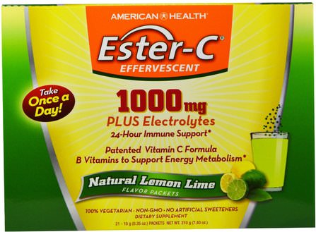 Ester-C Effervescent, Natural Lemon Lime Flavor, 1000 mg, 21 Packets, 0.35 oz (10 g) Each by American Health, 維生素,維生素c HK 香港
