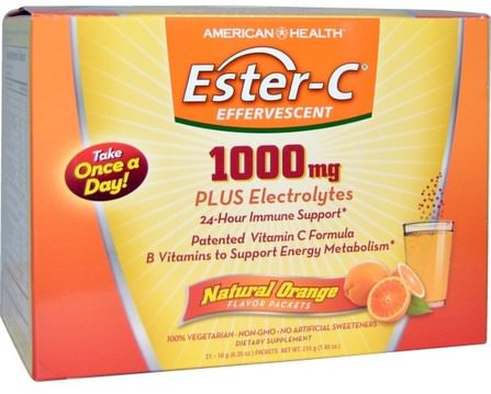 Ester-C Effervescent, Natural Orange Flavor, 1000 mg, 21 Packets, 0.35 oz (10 g) Each by American Health, 維生素,維生素c,酯c粉 HK 香港