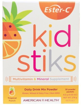 Ester-C Kidstiks, Daily Drink Mix Powder, Tropical Punch Flavor, 30 Powder Packets, 9.2 g (0.32 oz) Each by American Health, 維生素,維生素C,多種維生素,兒童多種維生素 HK 香港