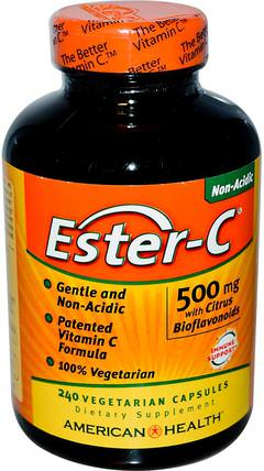 Ester-C with Citrus Bioflavonoids, 500 mg, 240 Veggie Caps by American Health, 維生素,維生素c,酯類c生物類黃酮 HK 香港