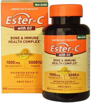 Ester-C with D3, Bone and Immune Health Complex, 1000 mg/5000 IU, 60 Veggie Tabs by American Health, 維生素,維生素c,維生素d3 HK 香港