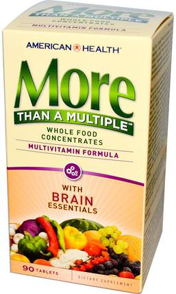 More Than A Multiple with Brain Essentials, 90 Tablets by American Health, 維生素,多種維生素,注意力缺陷障礙,添加,adhd,腦 HK 香港