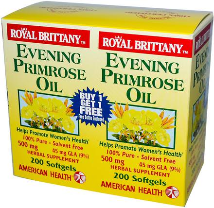 Royal Brittany, Evening Primrose Oil, 500 mg, 2 Bottles, 200 Softgels Each by American Health, 補充劑,efa omega 3 6 9(epa dha),月見草油,月見草油軟膠囊 HK 香港