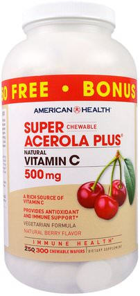 Super Chewable Acerola Plus, Natural Berry Flavor, 500 mg, 300 Chewable Wafers by American Health, 維生素,維生素C,維生素C咀嚼片,維生素C acerola HK 香港