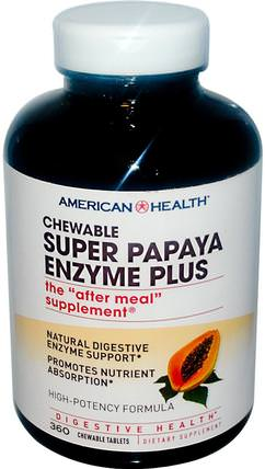 Super Papaya Enzyme Plus, 360 Chewable Tablets by American Health, 補充劑,酶,木瓜木瓜蛋白酶 HK 香港