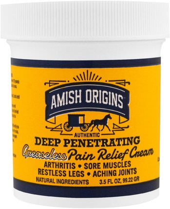 Deep Penetrating, Greaseless Pain Relief Cream, 3.5 fl oz (99.22 g) by Amish Origins, 健康,骨骼,骨質疏鬆症,關節健康,關節炎 HK 香港