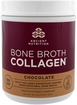 Bone Broth Collagen, Chocolate, 18.6 oz (528 g) by Ancient Nutrition, 補充劑,蛋白質,骨骼,骨質疏鬆症,膠原蛋白 HK 香港