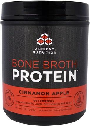 Ancient Nutrition, Bone Broth Protein, Cinnamon Apple, 17.4 oz (492 g) 健康,骨骼,骨質疏鬆症,關節健康,骨湯,補充劑,蛋白質