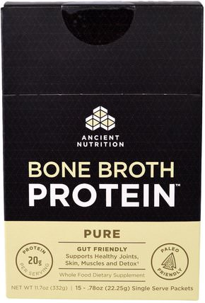 Bone Broth Protein, Pure, 15 Single Serve Packets.78 oz (22.25 g) Each by Ancient Nutrition, 健康,骨骼,骨質疏鬆症,關節健康,骨湯,補充劑,蛋白質 HK 香港