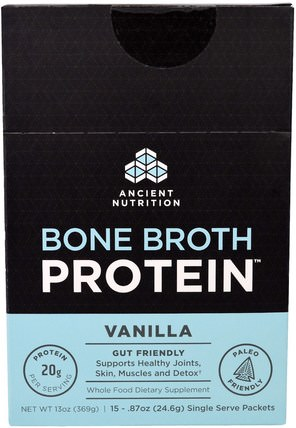 Bone Broth Protein, Vanilla, 15 Single Serve Packets.87 oz (24.6 g) Each by Ancient Nutrition, 健康,骨骼,骨質疏鬆症,關節健康,骨湯,補充劑,蛋白質 HK 香港
