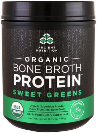 Ancient Nutrition, Organic Bone Broth Protein, Sweet Greens, 16.8 oz (476 g) 健康