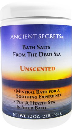 Lotus Brand Bath Salts From The Dead Sea, Unscented, 2 lbs (907 g) by Ancient Secrets, 洗澡,美容,浴鹽 HK 香港