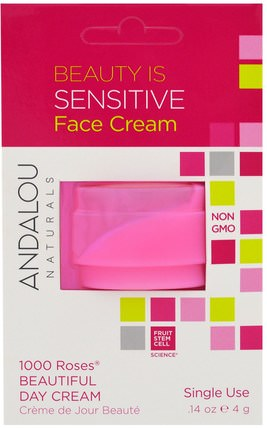 1000 Roses Beautiful Day Cream, Single Use.14 oz (4 g) by Andalou Naturals, 健康,皮膚,面霜,美容,面部護理,皮膚型酒渣鼻,敏感皮膚 HK 香港