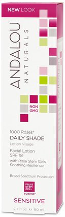 1000 Roses, Daily Shade, Facial Lotion SPF 18, Sensitive, 2.7 fl oz (80 ml) by Andalou Naturals, 美容,面部護理,皮膚型酒渣鼻,敏感皮膚,維生素c HK 香港