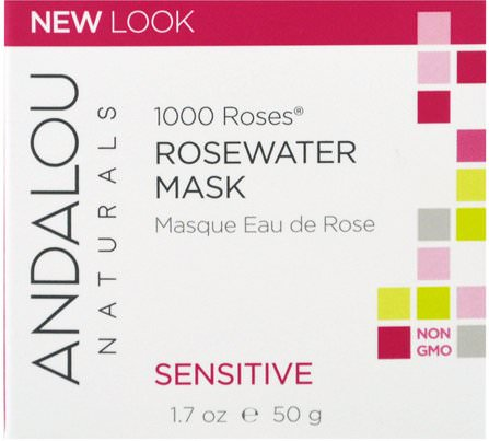 1000 Roses, Rosewater Mask, Sensitive, 1.7 oz (50 g) by Andalou Naturals, 美容,面膜,抗衰老,亮白面膜 HK 香港