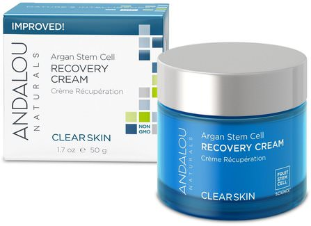 Argan Stem Cell Recovery Cream, Clearer Skin, 1.7 fl oz (50 ml) by Andalou Naturals, 健康,皮膚,晚霜,美容,水楊酸 HK 香港