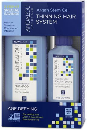 Argan Stem Cell, Thinning Hair System, Age Defying, 3 Piece Kit by Andalou Naturals, 洗澡,美容,摩洛哥堅果洗髮水,頭髮,頭皮,洗髮水,護髮素 HK 香港
