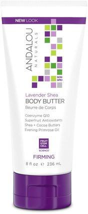Body Butter, Firming, Lavender Shea, 8 fl oz (236 ml) by Andalou Naturals, 健康,皮膚,身體黃油,美容,面部護理,麥盧卡蜂蜜護膚 HK 香港