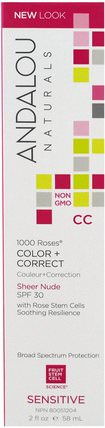 CC 1000 Roses, Color + Correct, Sheer Nude SPF 30, Sensitive, 2 fl oz (58 ml) by Andalou Naturals, 美容,面部護理,spf面部護理 HK 香港
