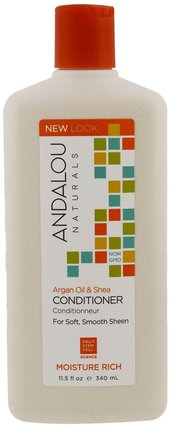 Conditioner, Moisture Rich, For Soft, Smooth Sheen, Argan Oil & Shea, 11.5 fl oz (340 ml) by Andalou Naturals, 洗澡,美容,堅果護髮素,頭髮,頭皮,洗髮水,護髮素 HK 香港