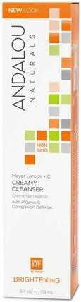 Creamy Cleanser, Meyer Lemon + C, Brightening, 6 fl oz (178 ml) by Andalou Naturals, 美容,面部護理,麥盧卡蜂蜜護膚,皮膚類型中性至乾性皮膚 HK 香港