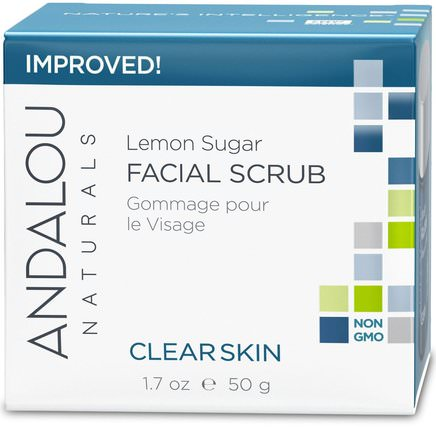 Facial Scrub, Lemon Sugar, Clarifying, 1.7 oz (50 g) by Andalou Naturals, 美容,面部護理,麥盧卡蜂蜜護膚,維生素c HK 香港