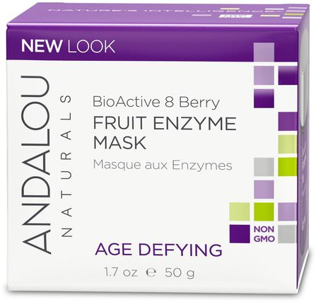 Fruit Enzyme Mask, BioActive 8 Berry, Age Defying, 1.7 oz (50 g) by Andalou Naturals, 美容,面部護理,麥盧卡蜂蜜護膚,面膜,糖,水果面膜 HK 香港