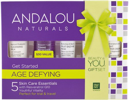 Get Started, Age Defying, Skin Care Essentials, 5 Piece Kit by Andalou Naturals, 健康,皮膚,晚霜,沐浴,美容,禮品套裝,旅行樣品包 HK 香港