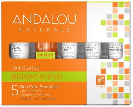 Get Started Brightening, Skin Care Essentials, 5 Piece Kit by Andalou Naturals, 健康,皮膚,晚霜,沐浴,美容,禮品套裝,旅行樣品包 HK 香港
