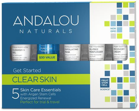 Get Started Clarifying, Skin Care Essentials, 5 Piece Kit by Andalou Naturals, 健康,皮膚,晚霜,沐浴,美容,禮品套裝,旅行樣品包 HK 香港