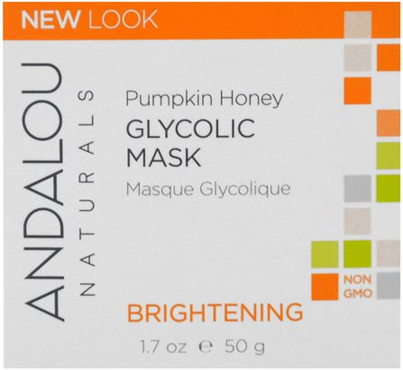 Glycolic Mask, Pumpkin Honey, Brightening, 1.7 oz (50 g) by Andalou Naturals, 美容,面部護理,麥盧卡蜂蜜護膚,美白面部護理 HK 香港