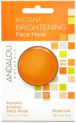 Instant Brightening Face Mask, Pumpkin and Honey.28 oz (8 g) by Andalou Naturals, 美容,面膜,抗衰老,亮白面膜,維生素c HK 香港
