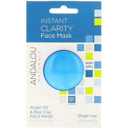 Instant Clarity, Argan Oil & Blue Clay Face Mask.28 oz (8 g) by Andalou Naturals, 美容,面膜,泥面膜 HK 香港