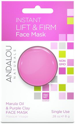 Instant Lift & Firm, Marula Oil & Purple Clay Face Mask.28 oz (8 g) by Andalou Naturals, 美容,面膜,泥面膜 HK 香港