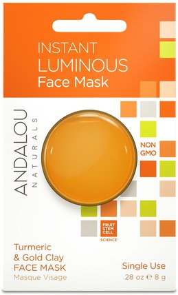 Instant Luminous, Turmeric & Gold Clay Face Mask.28 oz (8 g) by Andalou Naturals, 美容,面膜,泥面膜,維生素c HK 香港